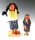Pair of old Indian Dolls with unique old tag. Largest is 10 1/2