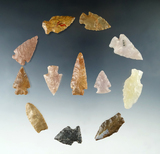 Set of 12 Colorado Arrowheads, largest is 1 13/16