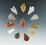 Set of 12 Colorado Arrowheads, largest is 1 3/16
