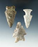 Set of three arrowheads found near Sullivan, Ashland Co., Ohio. Largest is 2 3/16