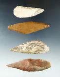 Set of four Harahey Knives found in Nebraska sandhills, largest is 3 7/8