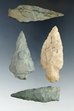 Hard To Find!  Set of four assorted arrowheads found in Rhode Island in the mid-1800s.
