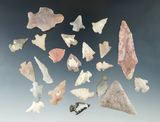 Group of assorted bird points and arrowheads, largest is 2 3/16