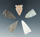 Set of five assorted arrowheads found in the Plains region, largest is 1 1/4