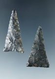 Pair of Coshocton Flint Triangle Points, largest is 1 3/8