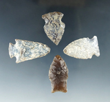 Set of four arrowheads found in the Dakotas, largest is 1 1/2