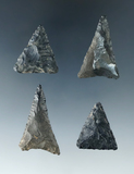 Set of 4 Triangle points found in Ohio. Largest is 1 1/2