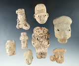 Set. of eight assorted pre-Columbian Mesoamerican clay pottery heads and figures