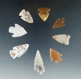 Set of 8 Colorado Arrowheads, largest is 1 5/16