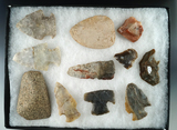 Group of Hopewell Flint and stone artifacts found by Paul Kaser off a site in Delaware Co., Ohio.