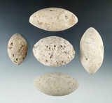 Set of five bolo stones found during World War II on the Island of Guam by a G.I. largest is 2 5/8