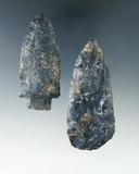 Pair of Coshocton Flint arrowheads found in Ashland Co., near the town of Sullivan.