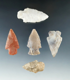 Set of five assorted arrowheads found in Arkansas, largest is 2 1/16