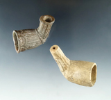 Pair of Clay Pipes, one has a shield and the other a face, found in Adams Co., Ohio,