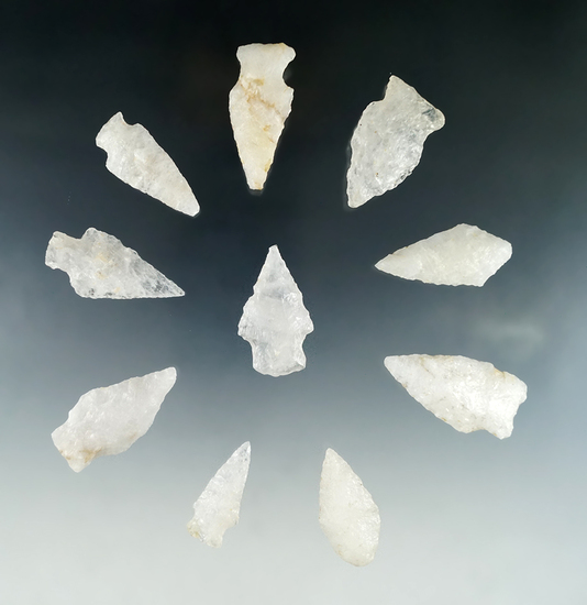 "Group of 10 quartz arrowheads found in Virginia, largest is 1 3/4""."