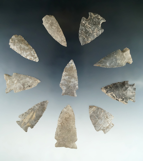 "Set of 10 assorted Tennessee arrowheads, largest is 2""."