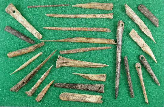 Nice group of bone artifacts dug at a site in Madison County Tennessee.