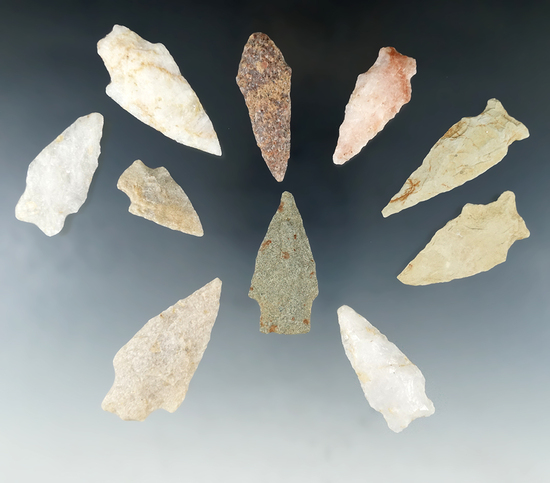 "Set of 10 assorted arrowheads found in Virginia, largest is 2 1/4""."