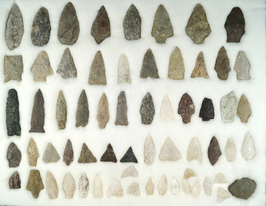 Large group of 62 assorted flaked points and knives in various conditions all found in Virginia.