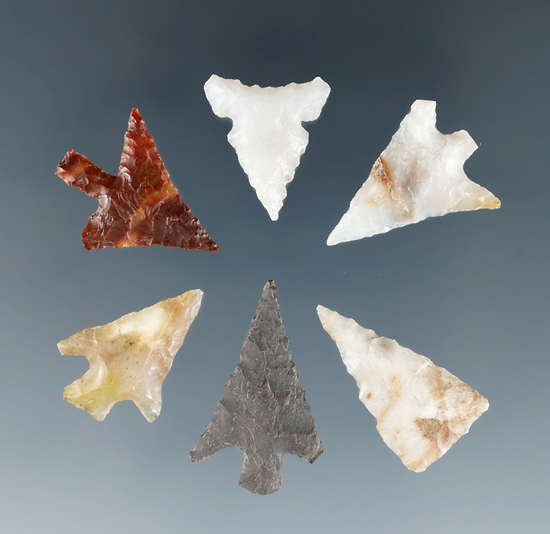 "Set of six assorted Gempoints found near the Columbia River, largest is 7/8"" Ex. Dewey Schmid."