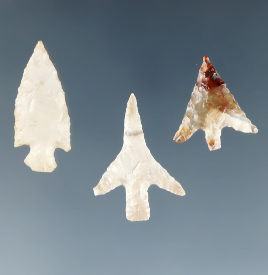 Set of three nicely styled Columbia River Gempoints, one is made from attractive agate.