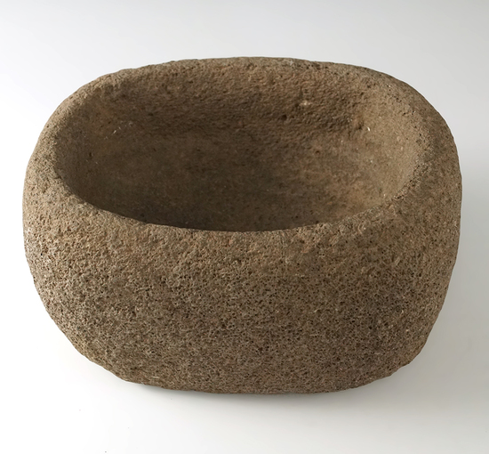 "Columbia River Stone Mortar that measures 6 1/2"" long by 5"" wide. A high grade, mid size mortar"