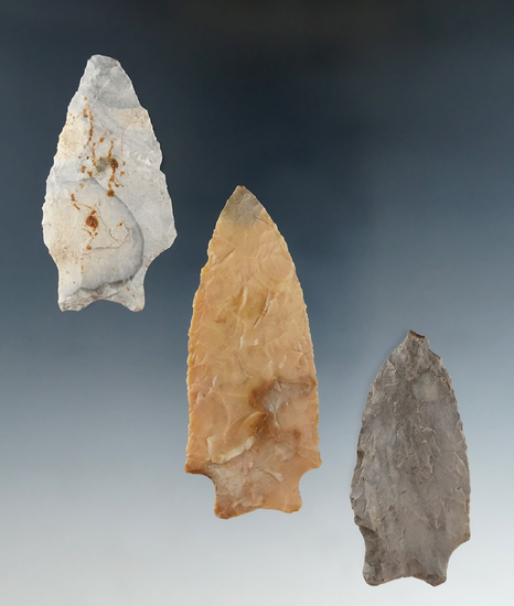 Three Transitional Paleo points found in Richland and Ashland Co.,'s, Ohio.
