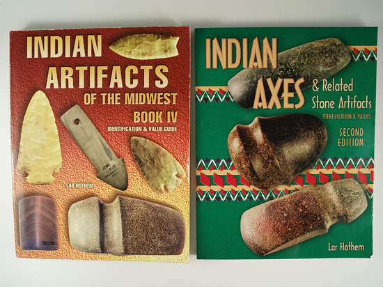 "2 books written by L. Hothem including ""Indian artifacts of the Midwest #4"" and ""Indian axes"""