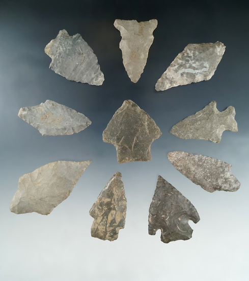 "Set of 10 New York area arrowheads, largest is 2 5/8""."