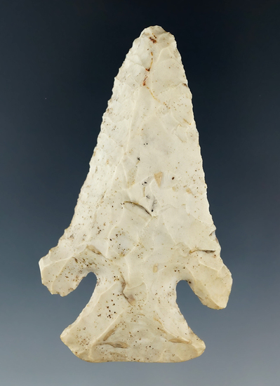 "2 13/16"" Archaic Thebes Bevel made from heavily patinated Flint Ridge found in Franklin Co., OH"