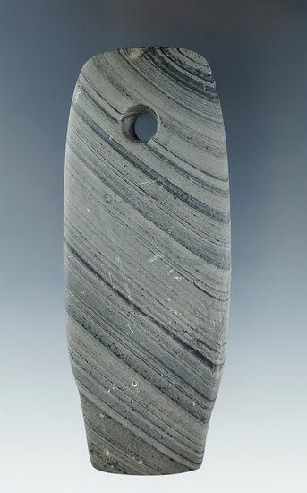 "3 7/8"" uniquely shaped banded slate Pendant which appears to have been. Found in Ohio."