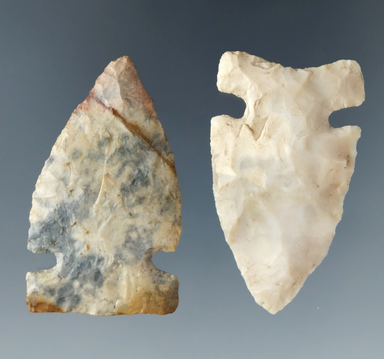 "Pair of Intrusive Mountain points, both are 1 5/8"". Made from Flint Ridge, - Wayne Co., Ohio."