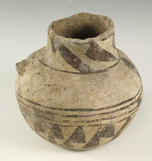 "4 1/2"" tall by 4 3/4"" wide nicely decorated jar with an anciently salvaged rim found in Apache Co.,"