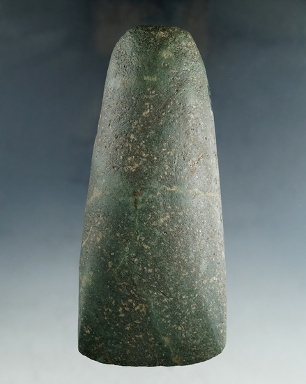 "Excellent style and workmanship on this 5"" green Hardstone Adze found in Medina Co., Ohio. Ex. Hooks"