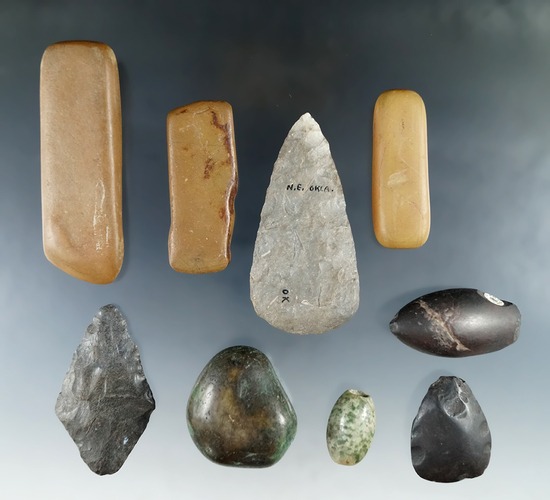 Group of Flint and stone artifacts from the personal collection of Gregory Perino, largest is 3 1/2""