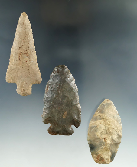 "Set of three flaked artifacts found in Kentucky and Tennessee, largest is 3""."