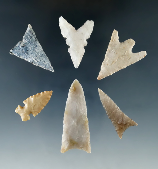 "Set of six assorted arrowheads found in Texas, largest is 1 9/16""."