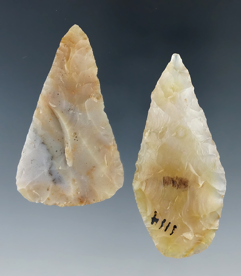 "Pair of high quality semi-translucent Flint Ridge Flint Blades found in Ohio.  Largest is 2 7/16""."