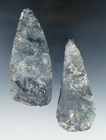 "Pair of Coshocton Flint Blades found in Ohio.  Largest is 4""."