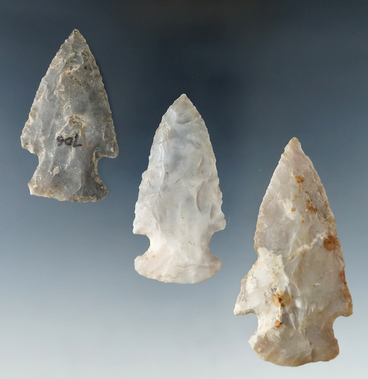"Group of 3 Flint Ridge Hopewell Points found in Ohio.  Largest is 2 3/4""."