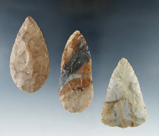 "Set of 3 Flint Ridge Woodland Blades all found in Ohio.  Largest is 2 15/16""."