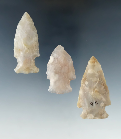 "Set of 3 Flint Ridge Flint Hopewell Points found in Ohio.  Largest is 2 3/16""."