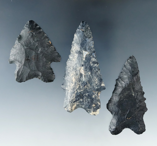 "Set of 3 Coshocton Flint Bifurcates all found in Ohio.  Largest is 2 5/8""."