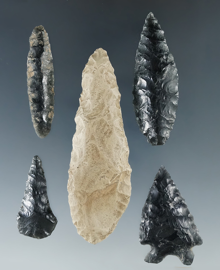 "Set of five artifacts including a 2 7/8"" Cascade found near a cave on the Snake River."