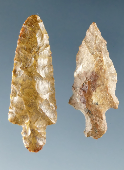 "Pair of Dagger points found near the lower Columbia River, largest is 1""."