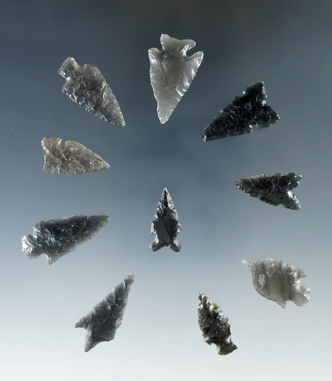 "Set of 10 assorted arrowheads found in Humboldt Co., Nevada. Largest is 1 1/16""."