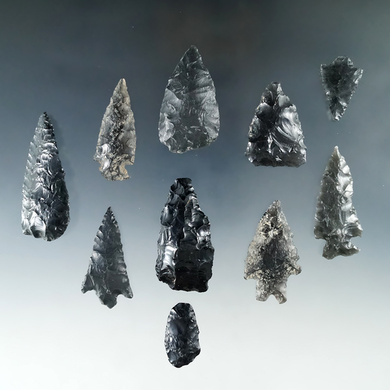 Group of 10 assorted obsidian artifacts found on the surface - Lake Co., Oregon.