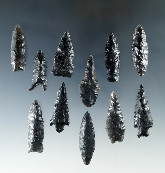 "Set of 10 obsidian arrowheads found in Oregon, largest is 1 3/4""."