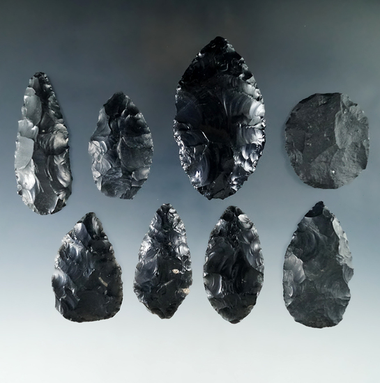 "Group of 8 obsidian and basalt Blades found in Humboldt Co., Nevada, largest is 2 3/4""."
