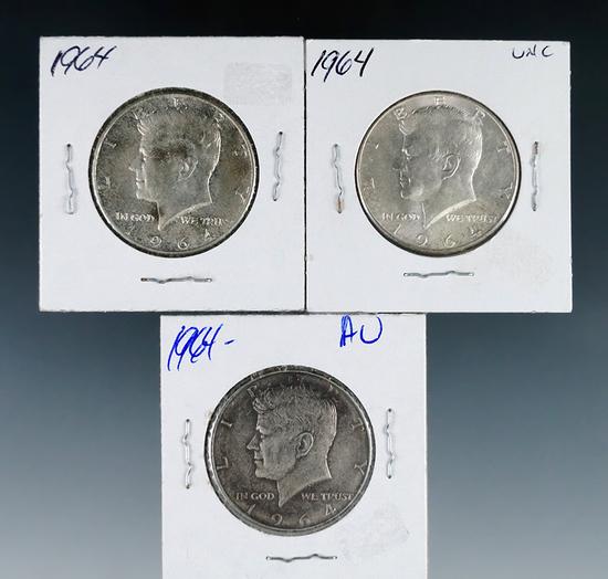 3 1964 Kennedy Silver Half Dollars VF-BU